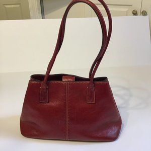 Fossil Red Leather Satchel Shoulder Bag Purse
